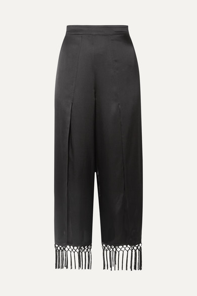The Max Macramé-Trimmed Silk-Charmeuse Wide-Leg Pants in Black