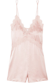 Cami NYC The Demi lace-trimmed silk-charmeuse playsuit
