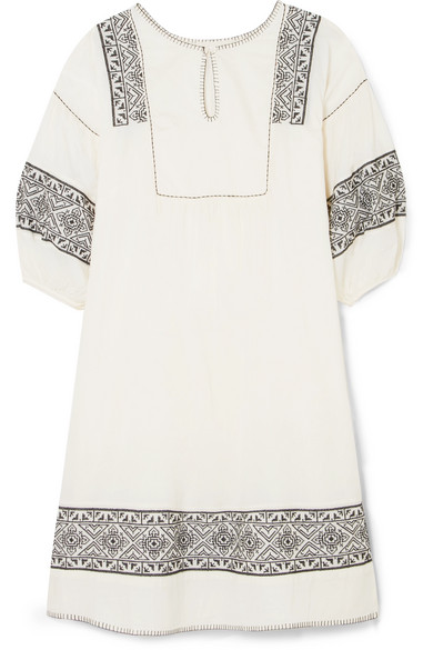 The Great THE LOVELY EMBROIDERED COTTON-GAUZE DRESS