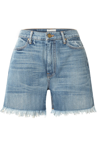 THE GREAT THE EASY CUT OFF FRAYED DENIM SHORTS