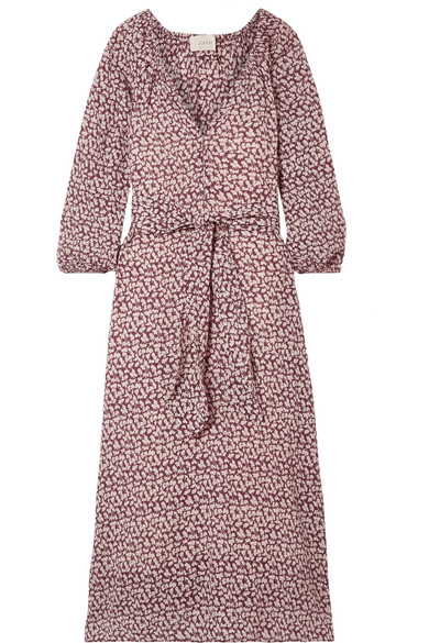 THE GREAT THE DERBY FLORAL-PRINT COTTON-GAUZE MIDI DRESS