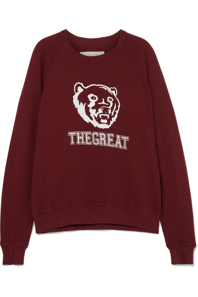 THE GREAT THE COLLEGE PRINTED COTTON SWEATSHIRT