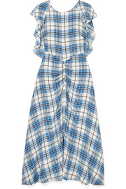 PAPER London Dutch ruched checked silk midi dress