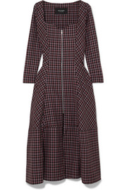 PAPER London Lotus checked wool-blend crepe midi dress