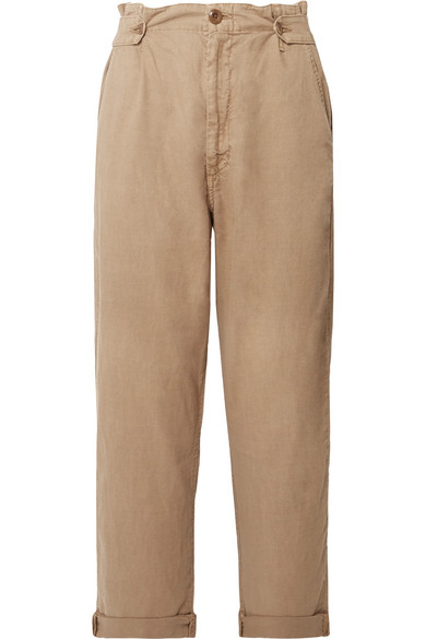 THE GREAT THE EXPLORER TWILL HIGH-RISE STRAIGHT-LEG PANTS