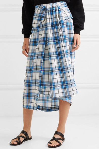 Siven Checked Silk Midi Skirt - Blue Paper London Free Shipping Cheap Online Buy Cheap Websites Perfect Free Shipping 2018 The Cheapest Cheap Online xMRV1Rkd