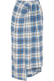 Siven checked silk midi skirt