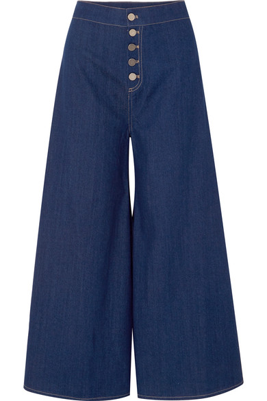 Paper London KELLY CROPPED HIGH-RISE WIDE-LEG JEANS