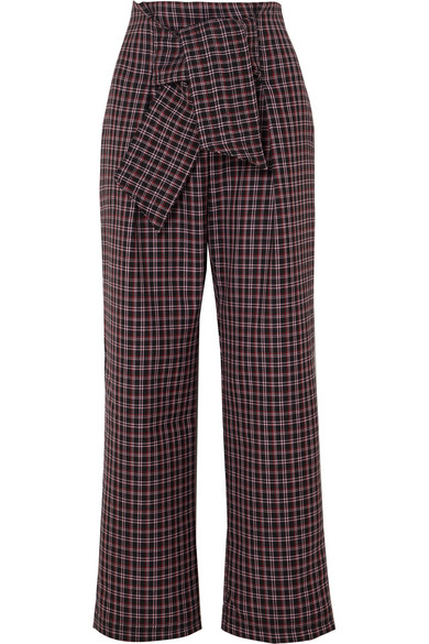 PAPER LONDON Twin Checked Wool-Blend Wide-Leg Pants in Burgundy