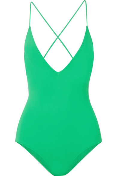 EMMA PAKE Ladies Green Antonia V-Neck Swimsuit in Bright Green