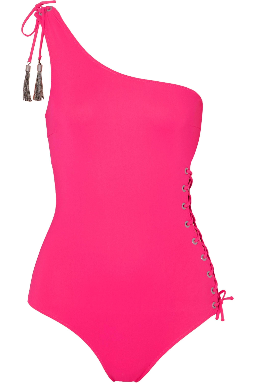 Emma Pake Bianca Badeanzug mit asymmetrischer Schulterpartie und Schnürung mit Troddeln
