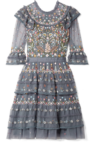 Paradise Ruffled Embroidered Tulle Dress - Blue Needle & Thread Xtssk