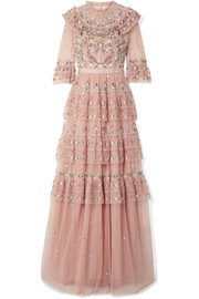 Paradise ruffled embroidered tulle gown