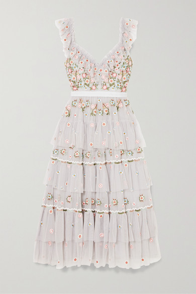 Whimsical Tiered Embroidered Tulle Midi Dress by Needle & Thread
