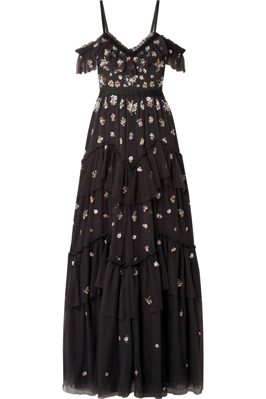 Needle & Thread Lustre cold-shoulder embellished tulle gown