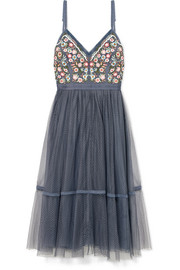 Needle & Thread Whimsical embroidered tulle dress