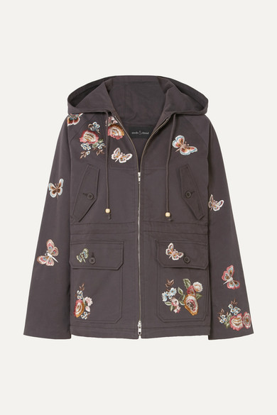 NEEDLE & THREAD Butterfly Rose Hooded Embroidered Cotton-Blend Twill Jacket in Charcoal