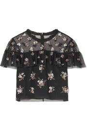 Lustre cropped embellished tulle top