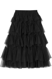 Needle & Thread Tiered tulle-jacquard midi skirt