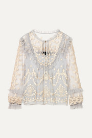 Flapper ruffled embroidered tulle blouse