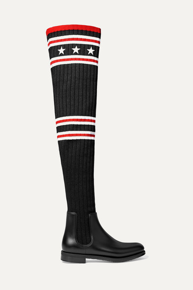 Givenchy Boots Storm rubber and ribbed-knit thigh sock boots