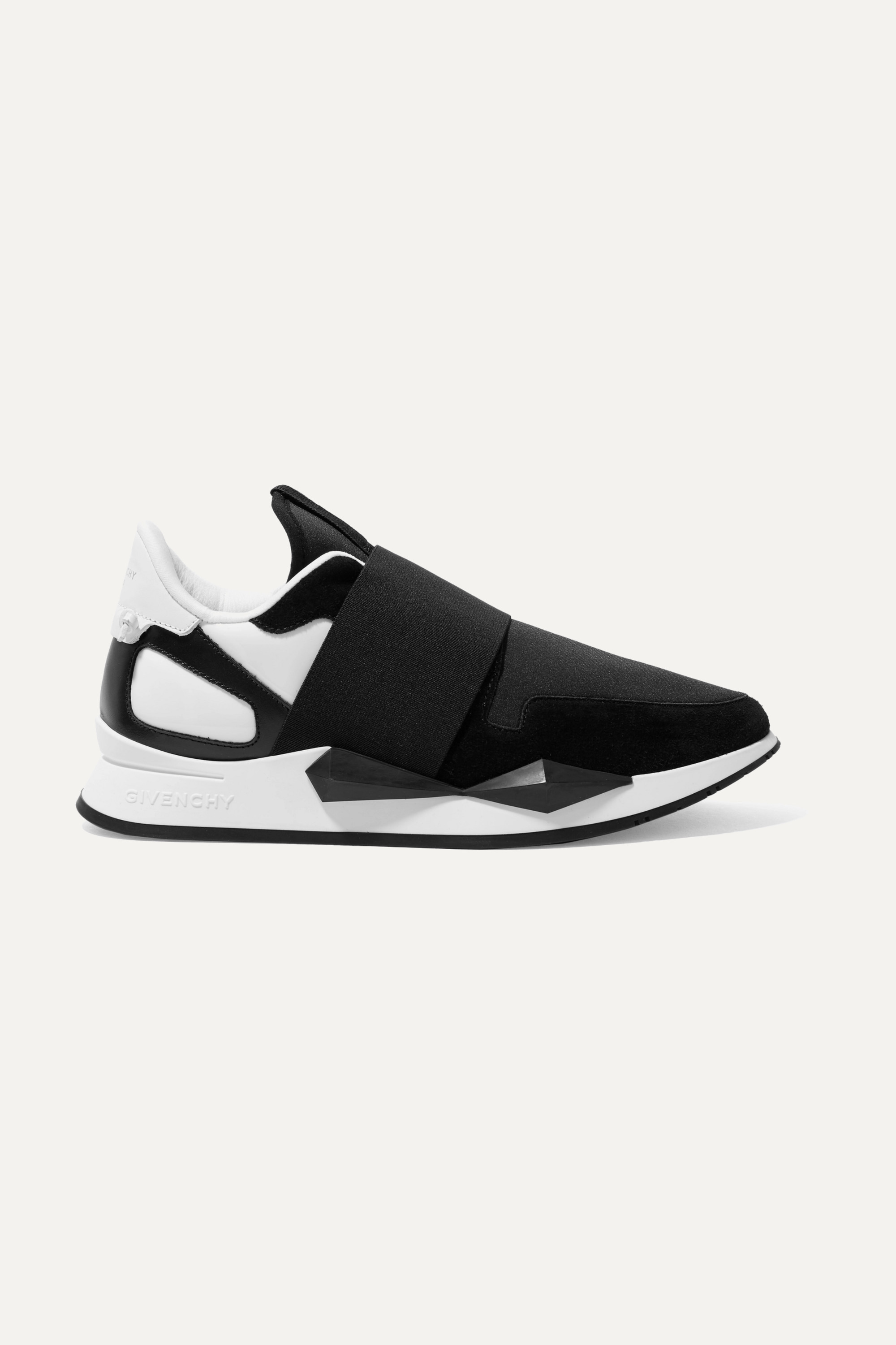Black Runner Elastic leather and suede