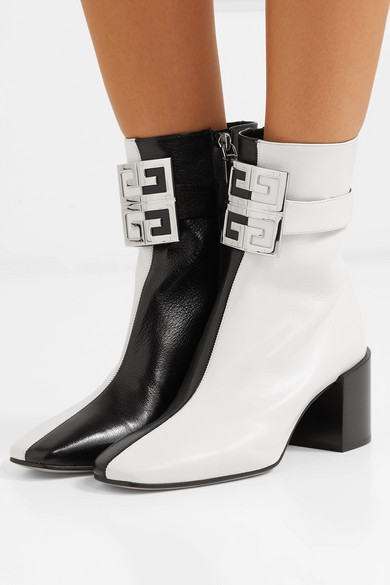 Givenchy Boots Logo-embellished two-tone leather ankle boots
