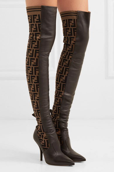 5d33481b951 Rockoko logo-jacquard stretch-knit and leather over-the-knee boots