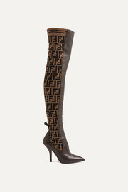 Fendi Rockoko logo-jacquard stretch-knit and leather over-the-knee boots