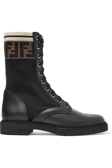 Logo Jacquard Stretch Knit And Leather Ankle Boots by Fendi