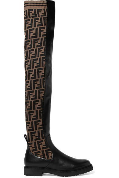 Logo Jacquard Stretch Knit And Leather Over The Knee Boots by Fendi