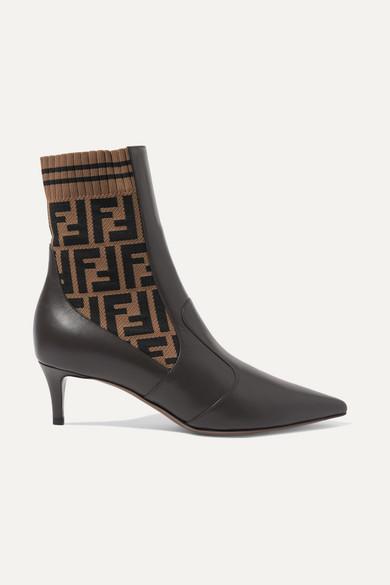 0a9ad633a60e7 Fendi | Rockoko logo-jacquard stretch-knit and leather ankle boots ...