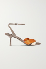 Ribbons leather and satin sandals