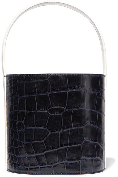 Bissett Croc-Effect And Smooth Leather Bucket Bag, Navy