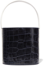 STAUD Bissett croc-effect and smooth leather bucket bag