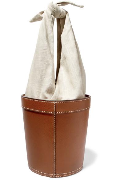 Britt Leather And Canvas Bucket Bag, Tan Multi