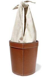 STAUD Britt leather and canvas bucket bag
