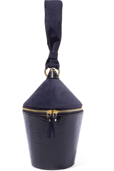 Minnow Crocodile-Effect Leather And Suede Bag, Navy