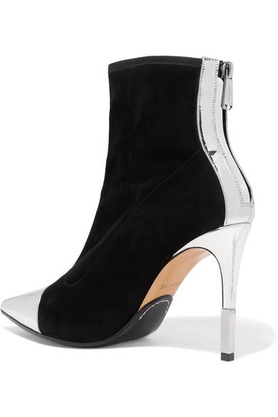 Balmain Boots Blair mirrored leather-trimmed velvet sock boots