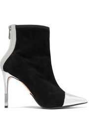 Balmain Blair mirrored leather-trimmed velvet sock boots