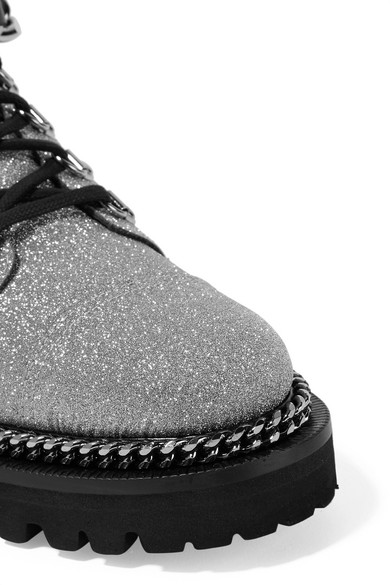 Balmain Boots Chain-embellished glittered leather ankle boots