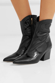 Tibi Felix patent-trimmed leather ankle boots