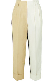 Petar Petrov Color-block linen-blend tapered pants