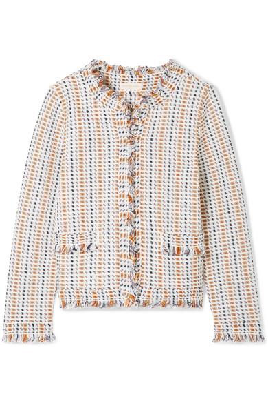Hollis Fringed Tweed Cardigan by Tory Burch