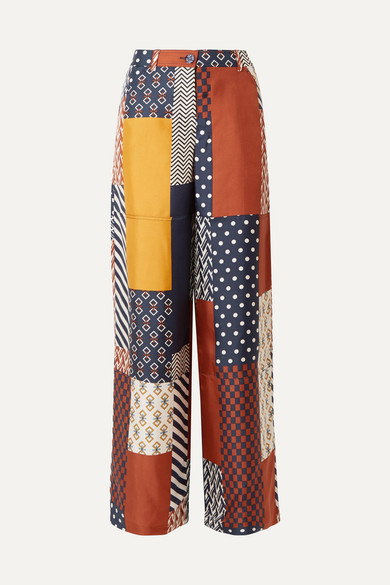 Tory Burch - Denise Patchwork Printed Silk-twill Wide-leg Pants - Navy