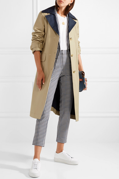 dacec250d Tory Burch. Ashby two-tone cotton-canvas trench coat