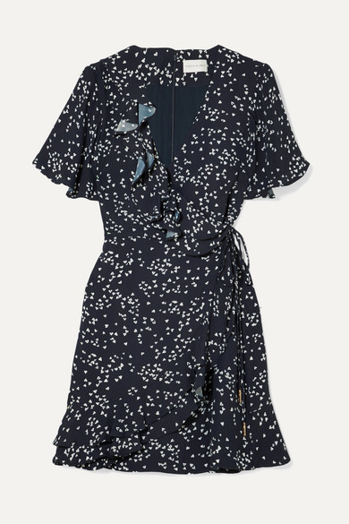 Flores Ruffled Printed Crepe Wrap Mini Dress by Rebecca Vallance