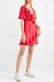 Flores ruffled printed crepe wrap mini dress