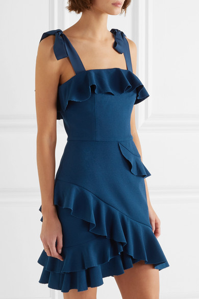 Aegean Ruffled Stretch-crepe Mini Dress - Blue Rebecca Vallance LC7Ql3qh