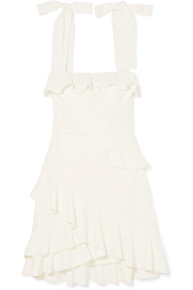 White Ruffle Mini Dress with Bow Straps